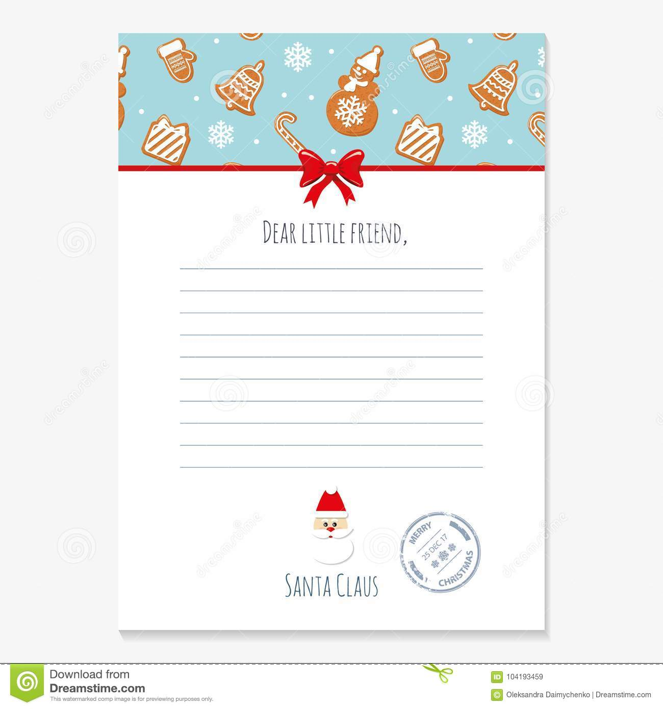 download christmas letter from santa claus template layout in a4 size pattern with gingerbread - Christmas Letter From Santa