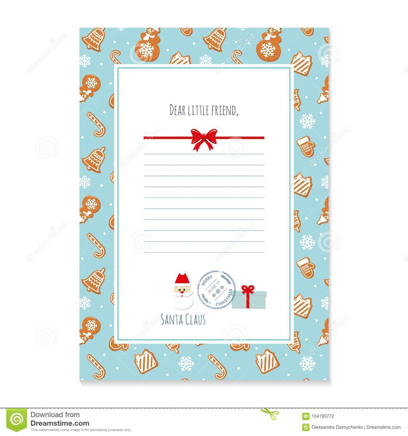 Christmas Letter From Santa Claus Template. Layout In A4 Size