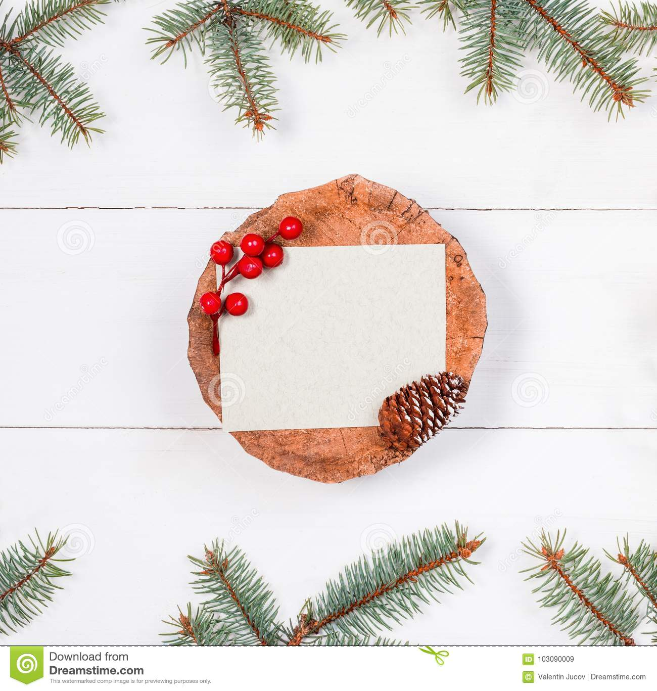 christmas letter for santa on stump on white wooden background with fir branches and decorations - Christmas Letter Decorations