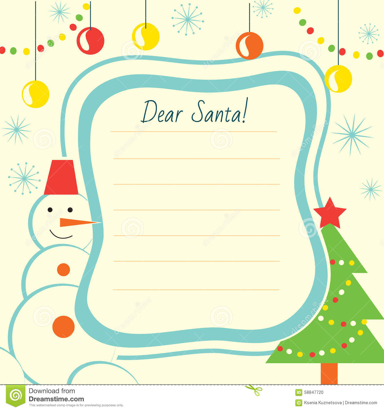 Christmas letter template to Santa Claus for print or website. For ...