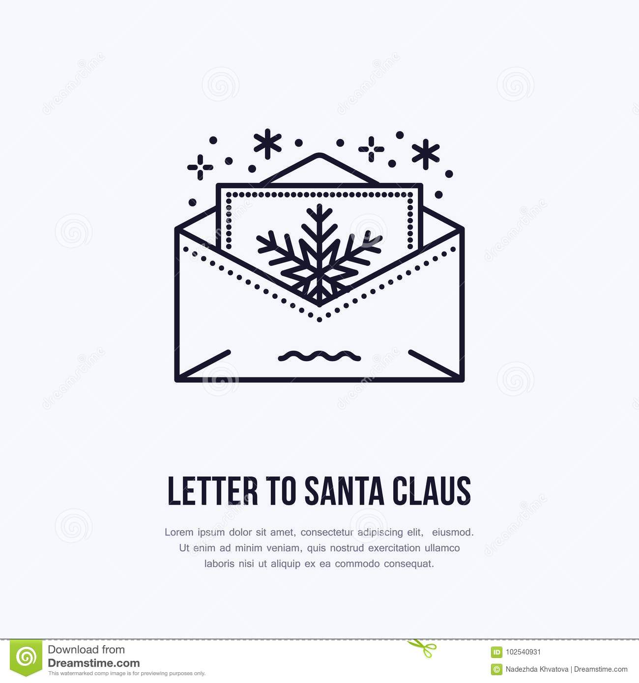 Christmas Letter To Santa Claus, New Year Party Invitation Flat Line ...
