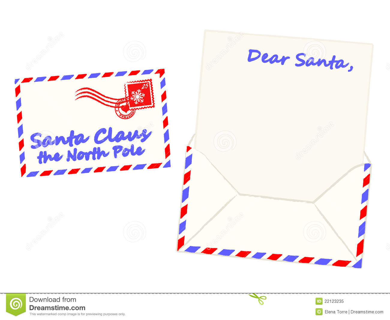 Illustration of blank letter and envelope to Santa Claus, isolated on ...