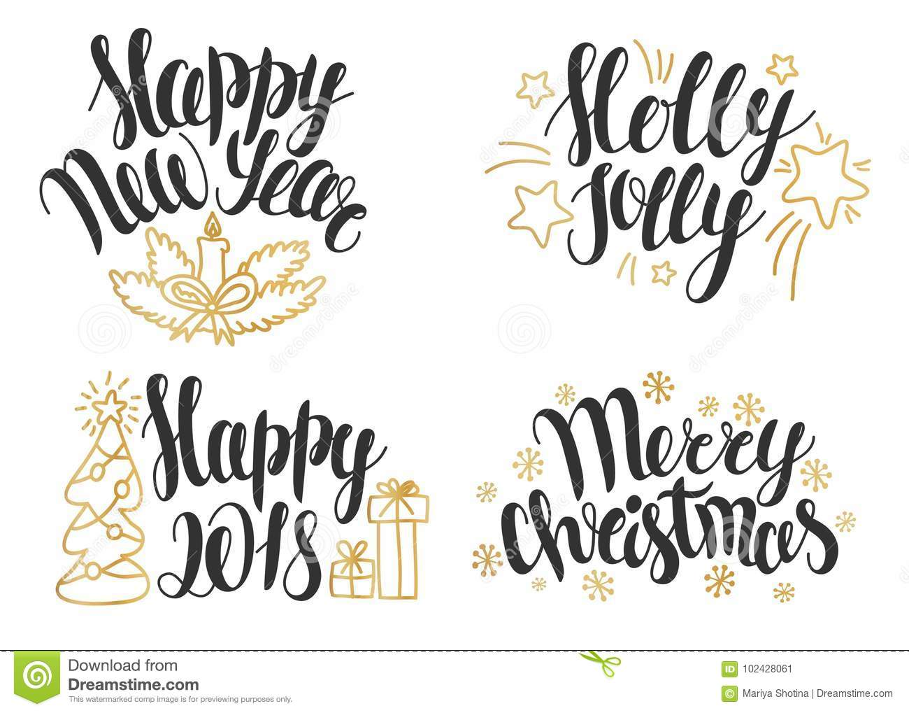Christmas Lettering Collection Hand Drawn Phrases For Christmas And