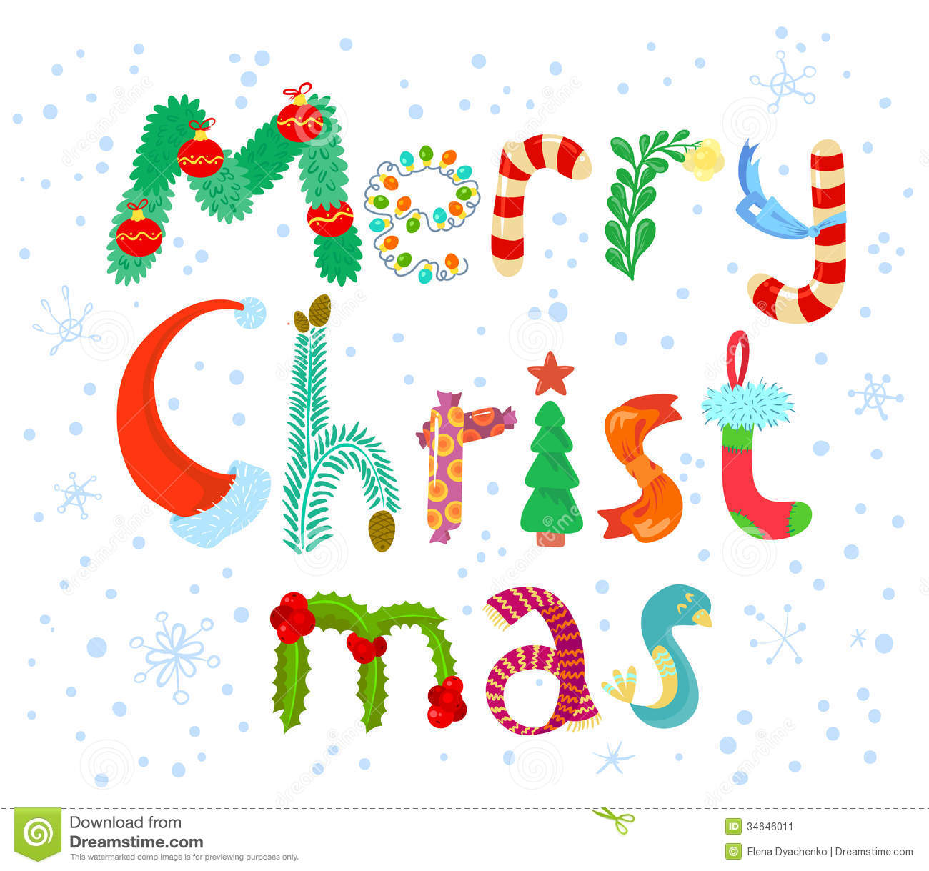 Christmas Lettering Stock Image - Image: 34646011