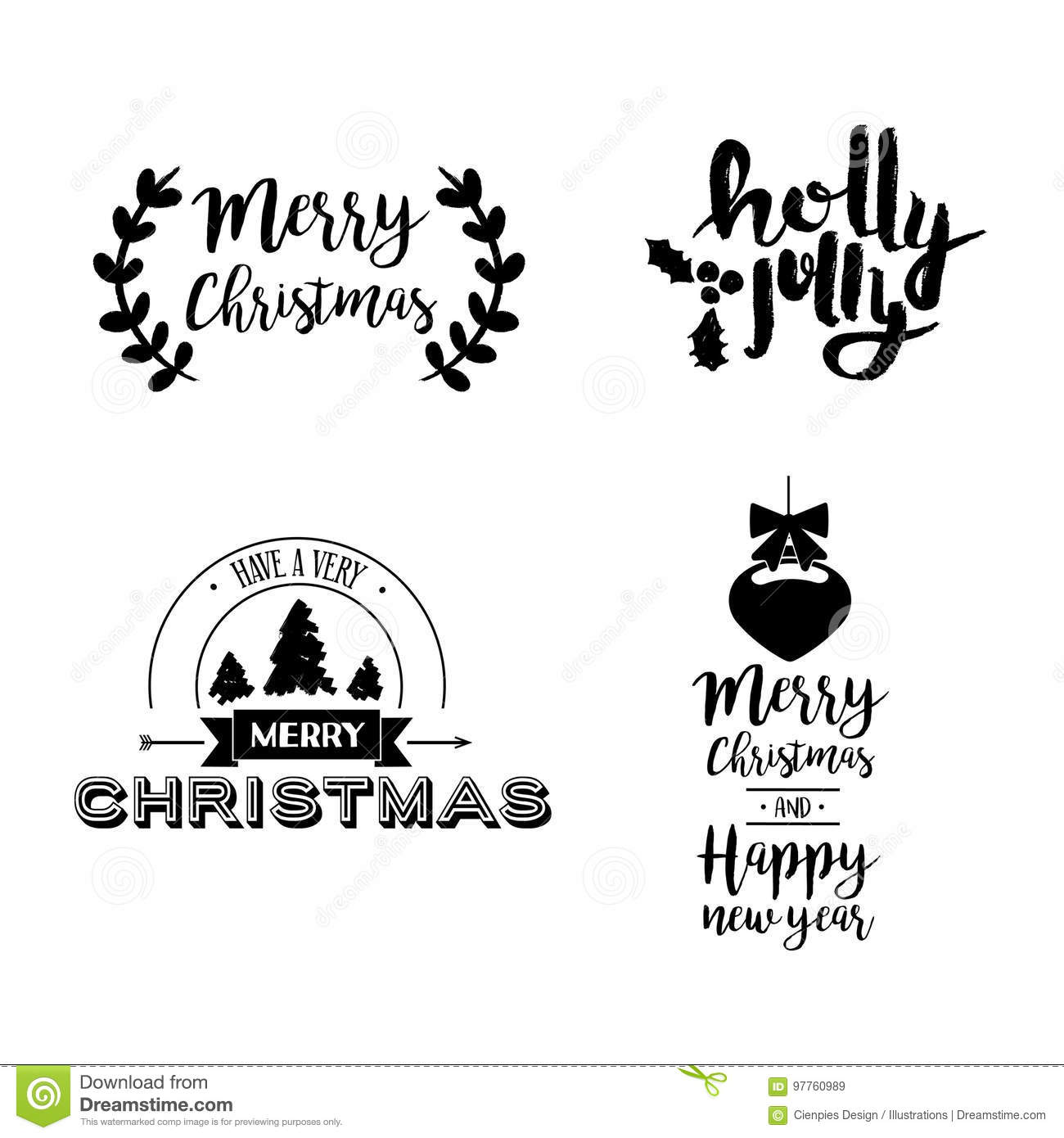 Christmas Lettering Holiday Season Art Quote Set Stock Vector ...