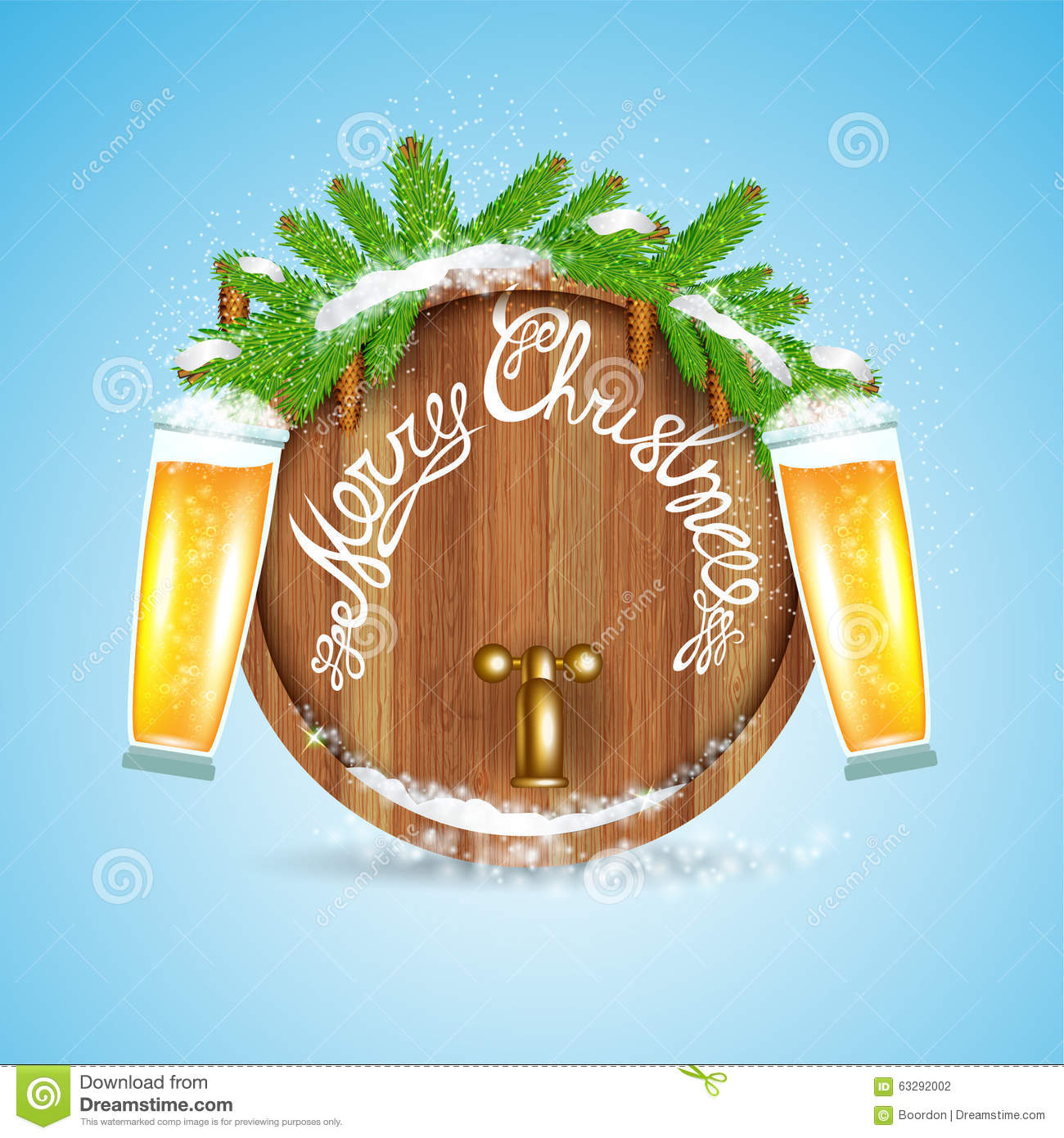 Christmas lettering on wood barrel with snowy fir tree branch and beer of glass