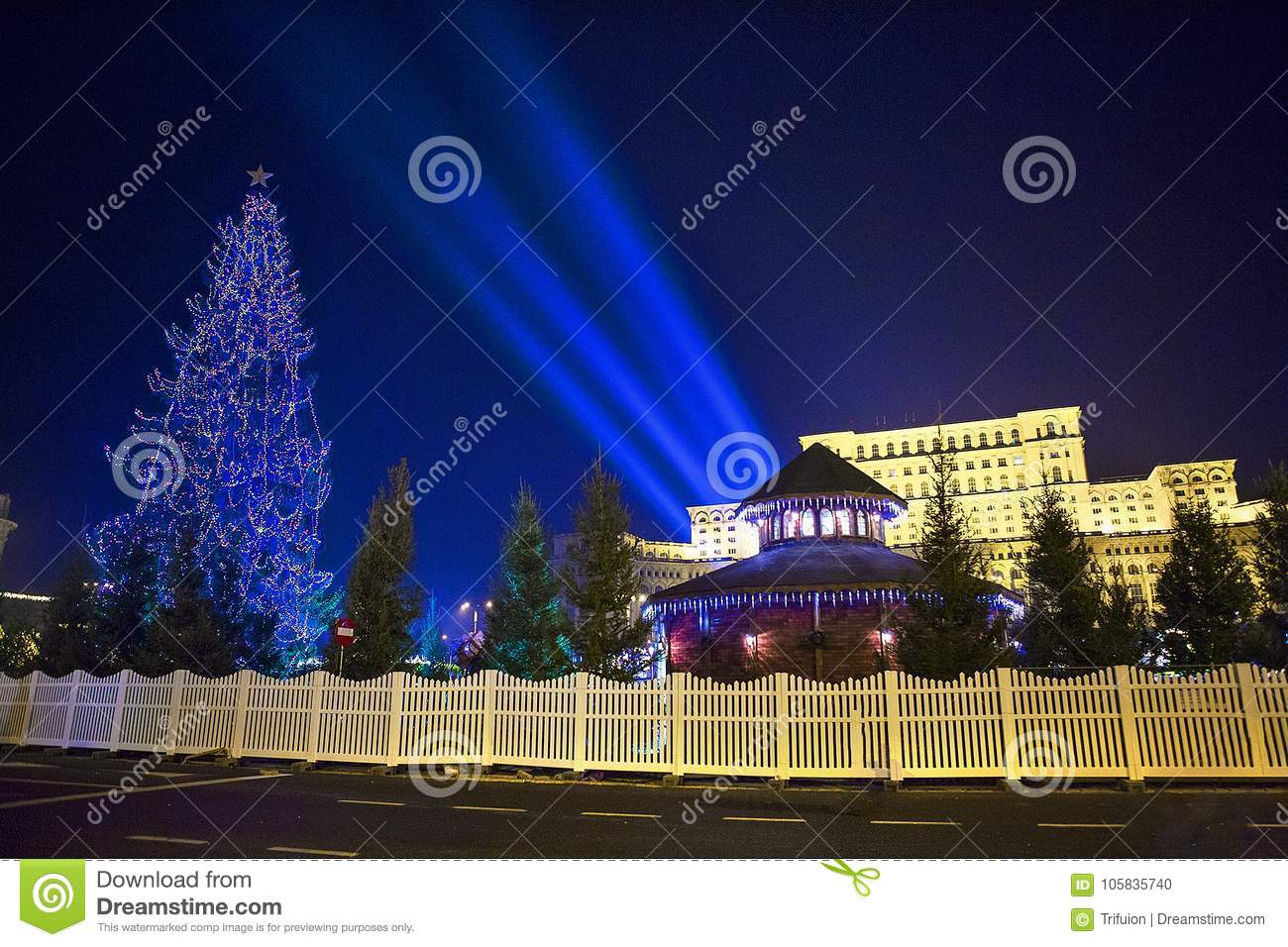 Christmas light - Bucharest House of Parliament