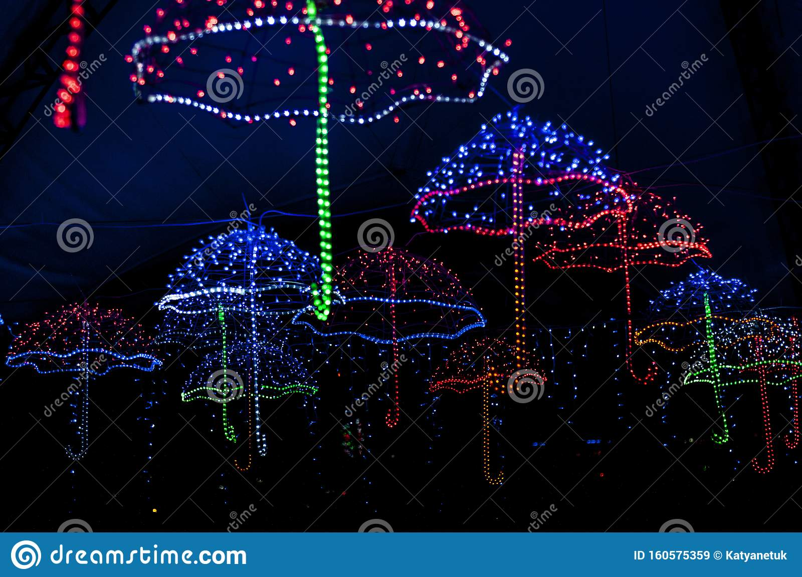 Christmas Light Decorations Glowing Umbrella Stock Image Image Of Effect Blurred 160575359