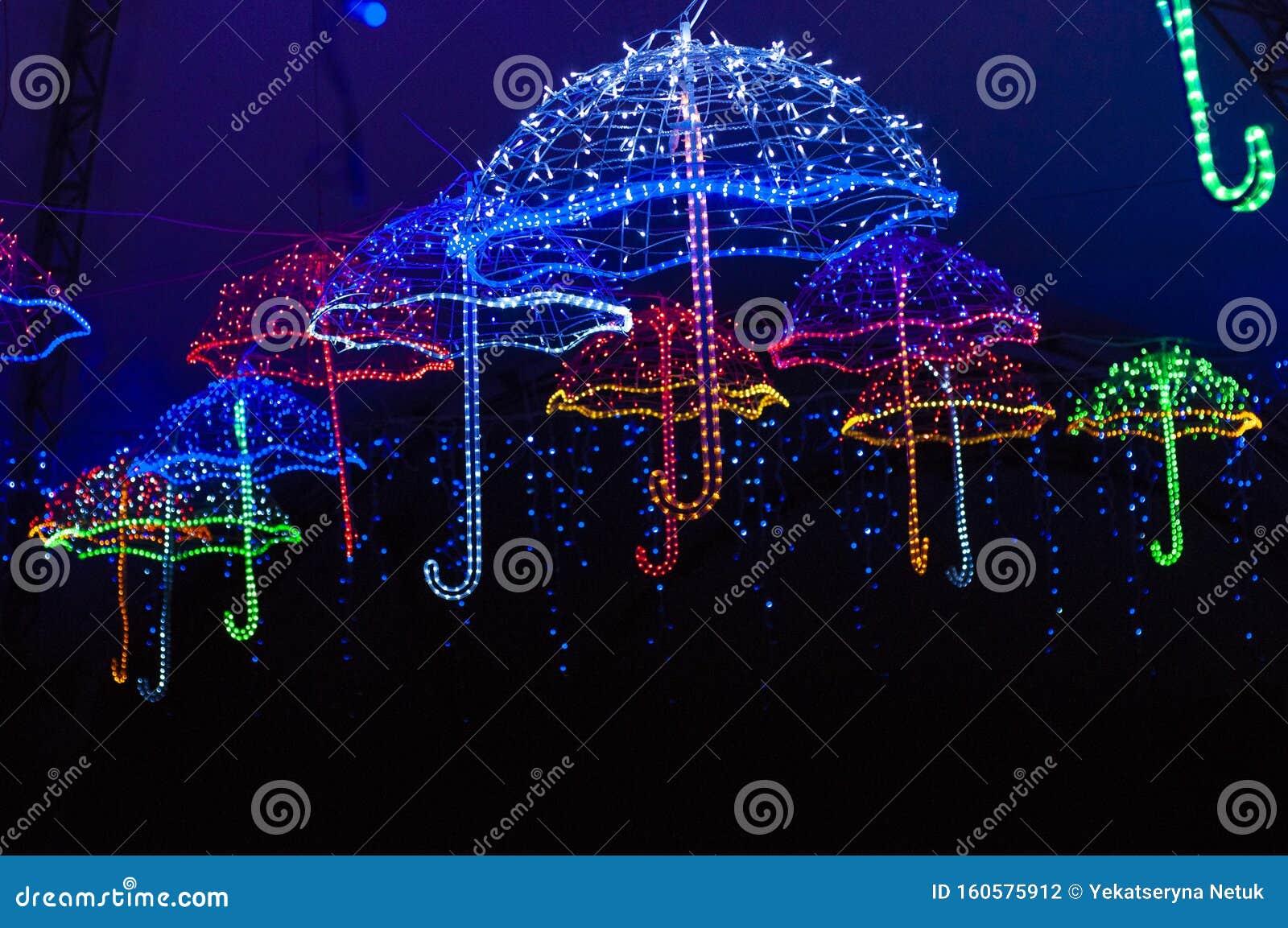 Christmas Light Decorations Glowing Umbrella Stock Photo Image Of Illumination City 160575912
