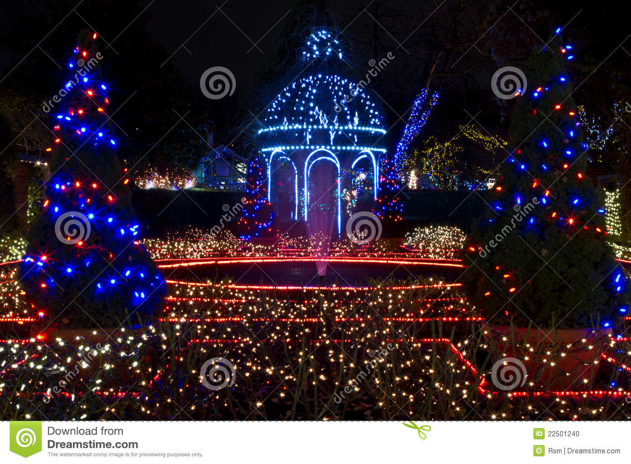 Christmas light display at park and tilford gardens with two decorated