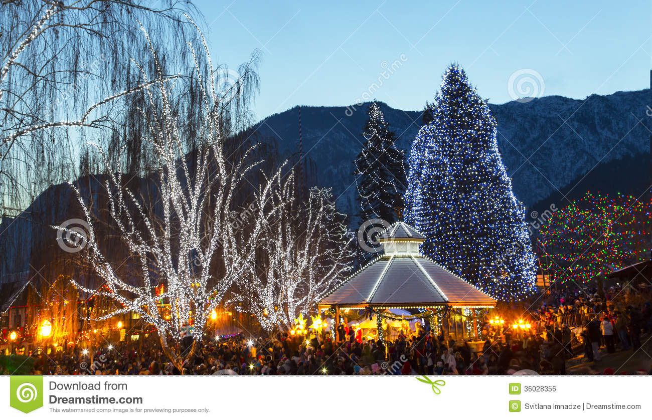 Leavenworth Christmas Lights.Christmas Lighting In Leavenworth Stock Photo Image Of