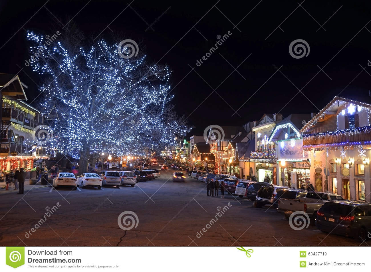 German Christmas Village Washington State.Christmas Lighting In Leavenworth 16 Editorial Stock Image
