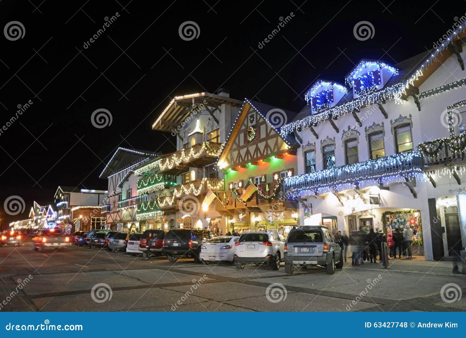 Leavenworth German Christmas Town Washington.Christmas Lighting In Leavenworth Editorial Stock Photo