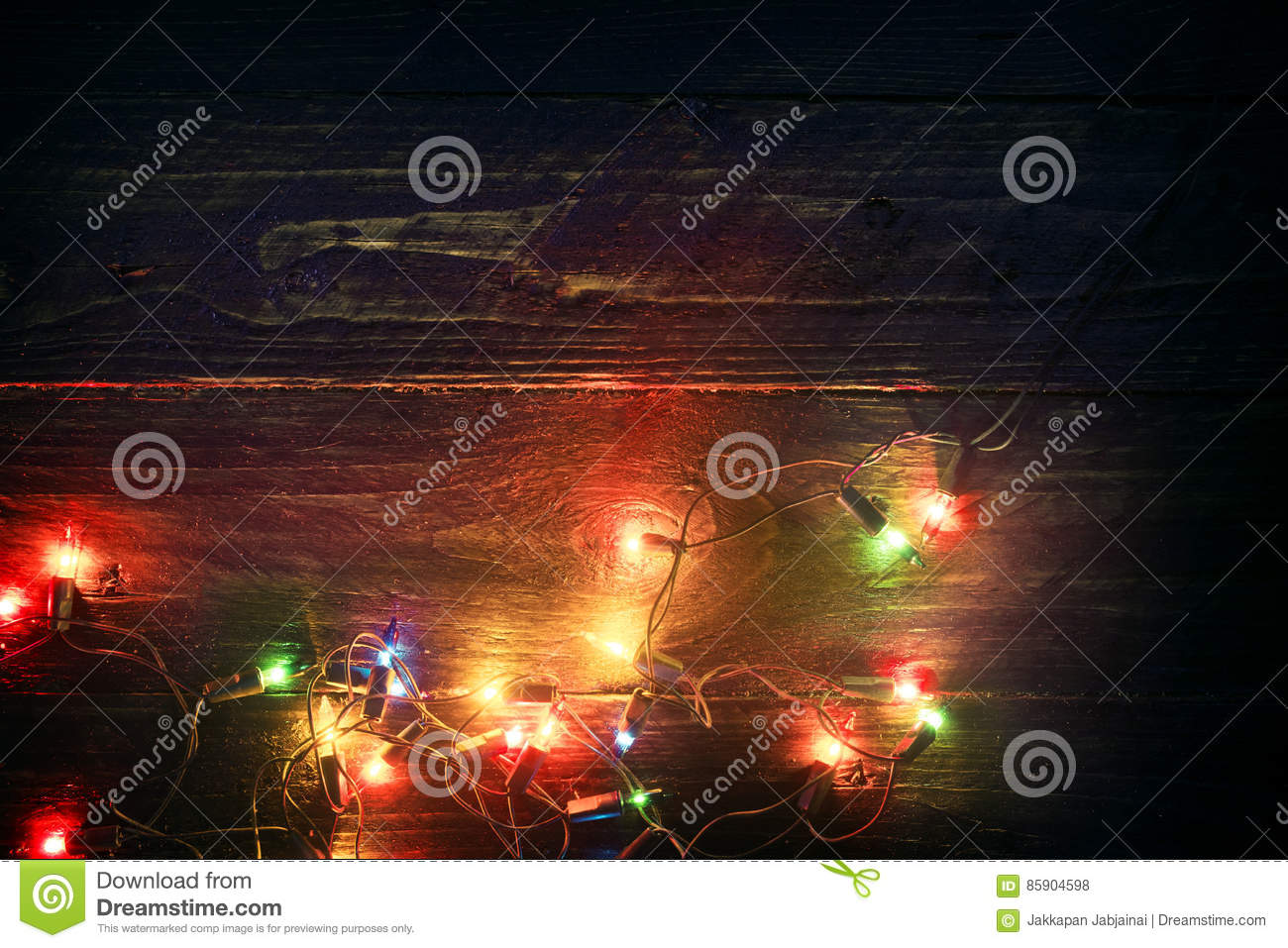 Christmas lights background - Rustic Merry christmas xmas background