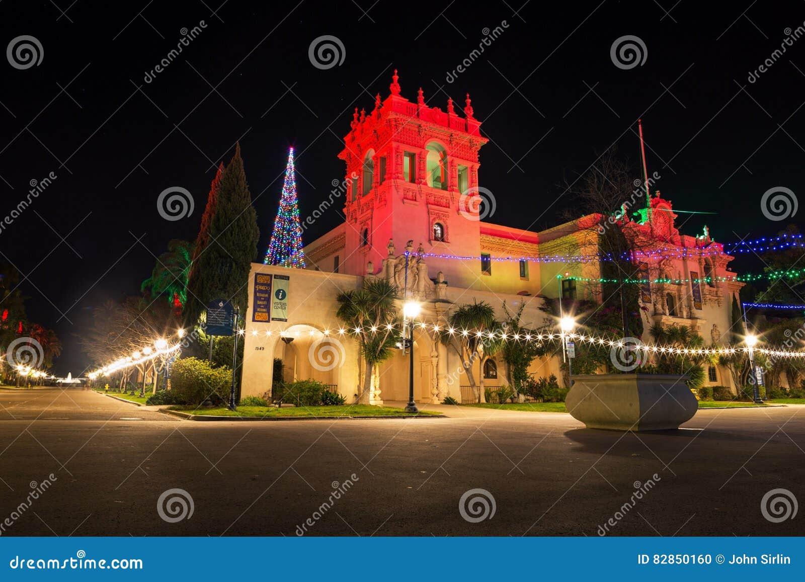 San Diego Christmas Lights.Christmas Lights In Balboa Park Editorial Image Image Of