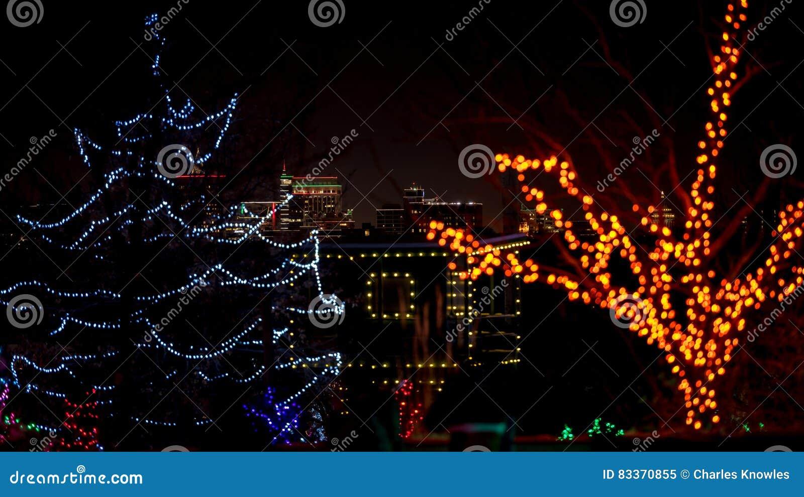 Christmas Lights Boise.Christmas Lights And Bosie Idaho Skyline At Night Stock
