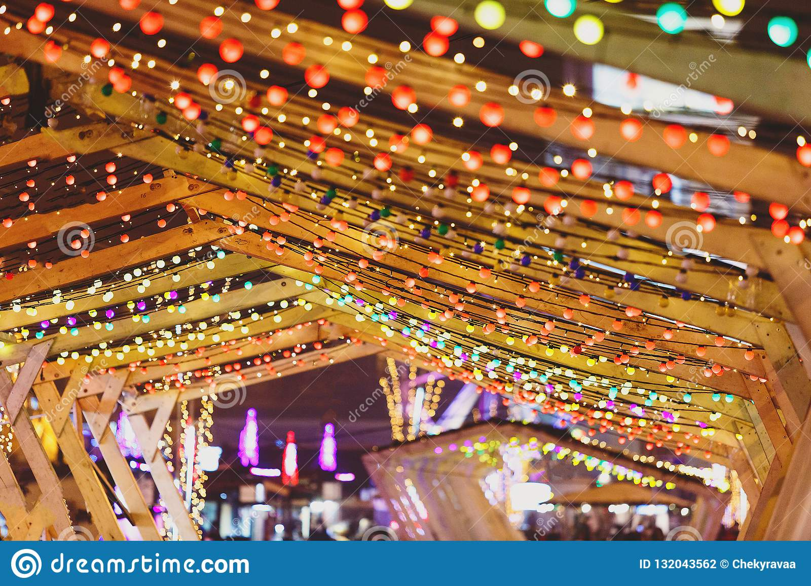 Christmas Lighted Garlands.Christmas Lights And Bulb Garlands On The City Streets New