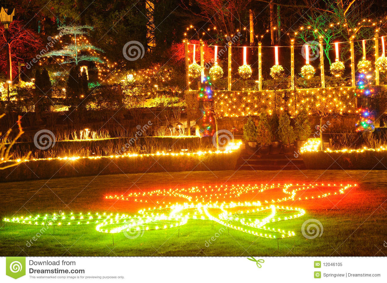 Christmas Lights In Butchart Gardens Stock Image - Image of british ...