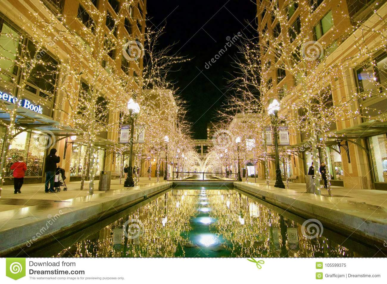 Beautiful Christmas Lights And Holiday Themes In Front Of The Fountains At  City Creek Mall In Utah`s Capitol, Salt Lake City.