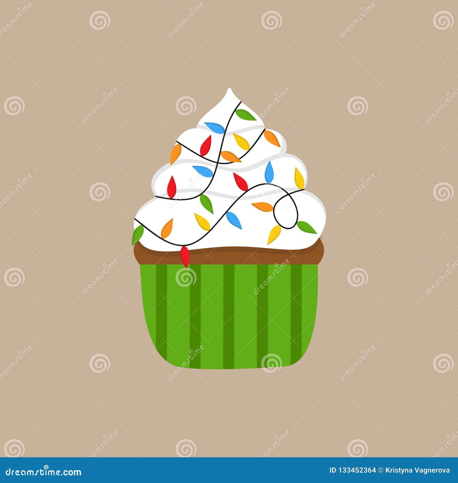 Christmas Lights Cupcake Vector Illustration Stock Vector