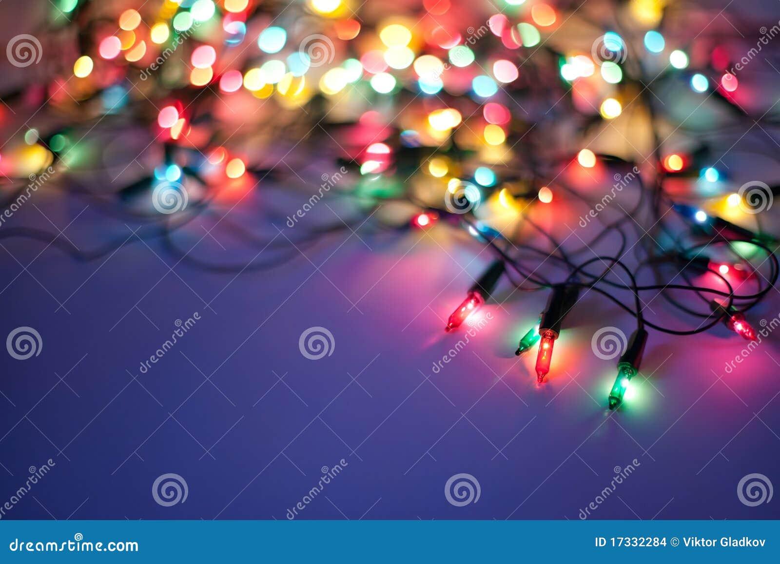 Christmas lights on dark blue background