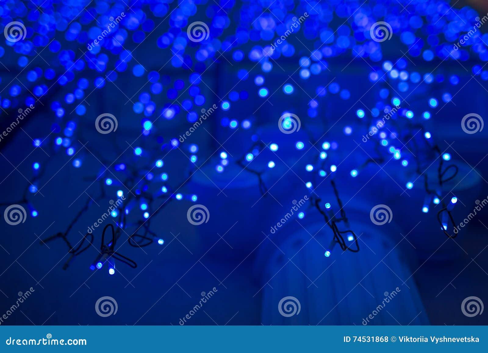 Christmas Lights On Dark Blue Background Royalty Free