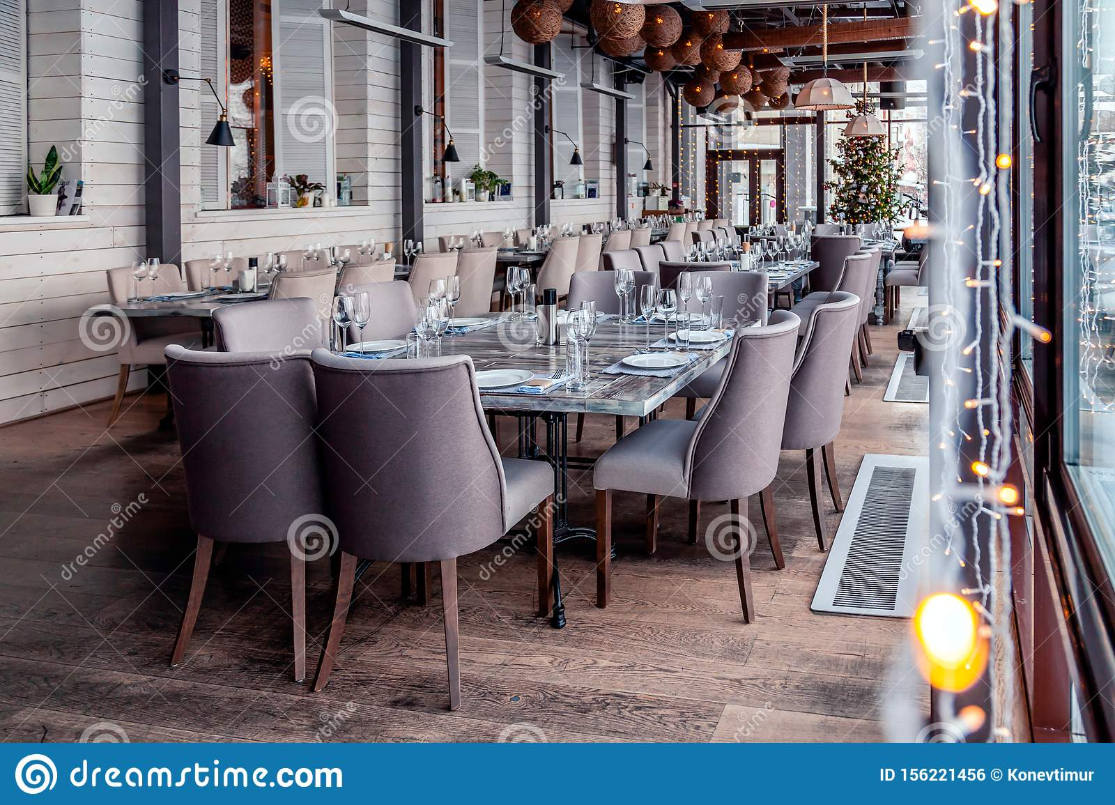 Christmas Lights Decor Interior Modern Restaurant Panoramic Windows Setting Serving Banquet Gray Textile Chairs Serving Stock Photo Image Of Cafe Design 156221456