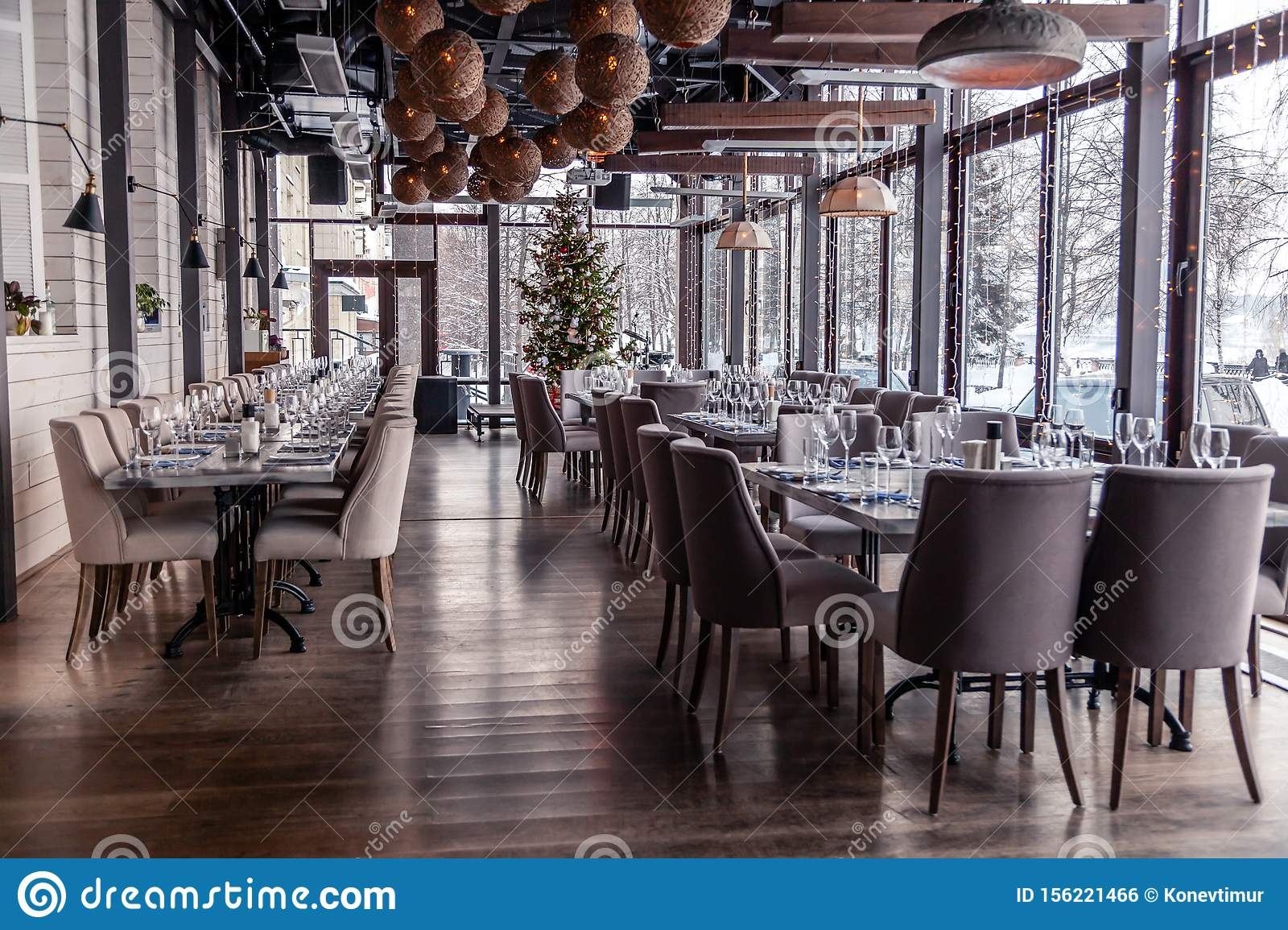 Christmas Lights Decor Interior Modern Restaurant Panoramic Windows Setting Serving Banquet Gray Textile Chairs Serving Stock Photo Image Of Winter Plates 156221466