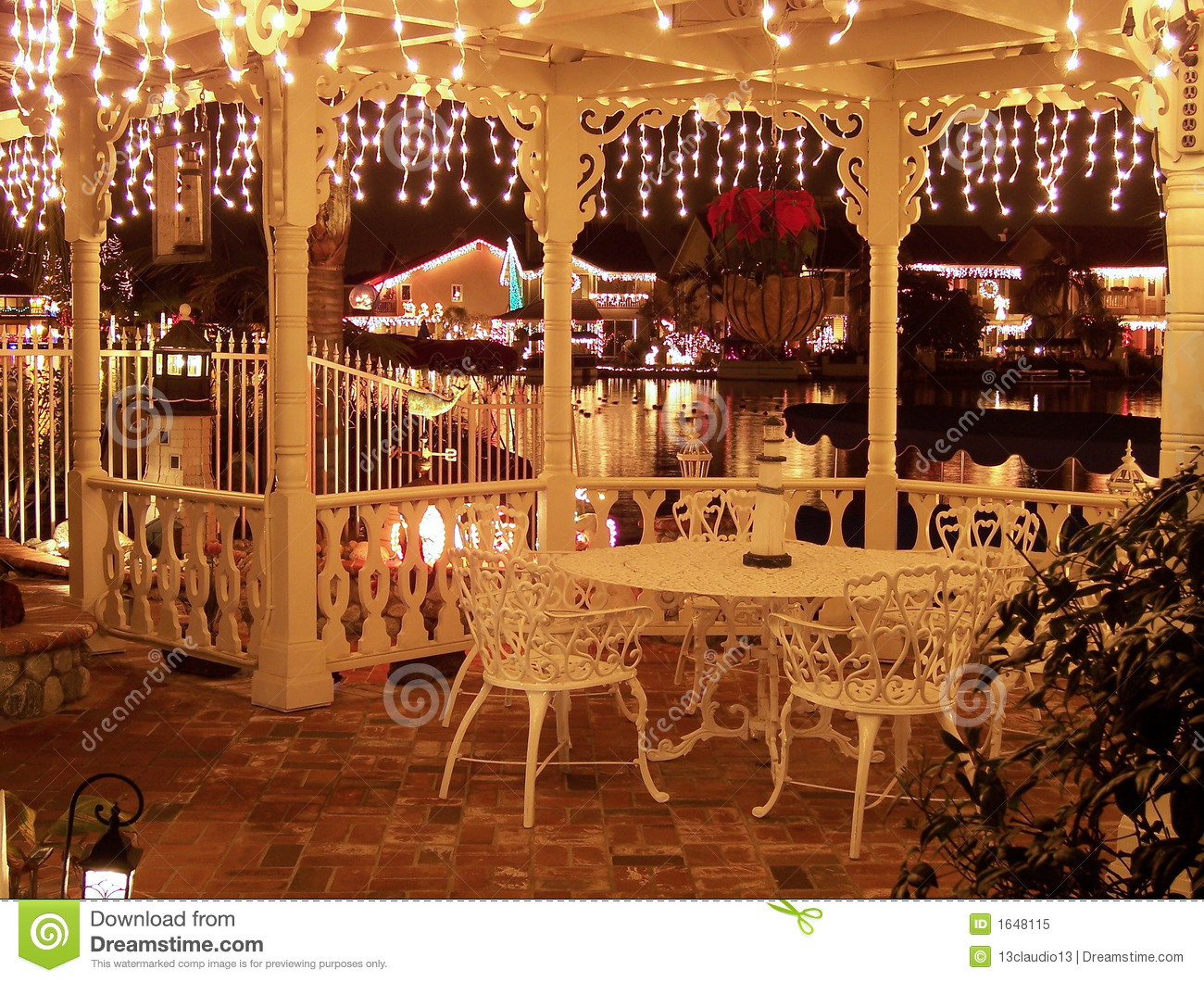 Christmas Lights Decorated Gazebo Overlooking A Reflective