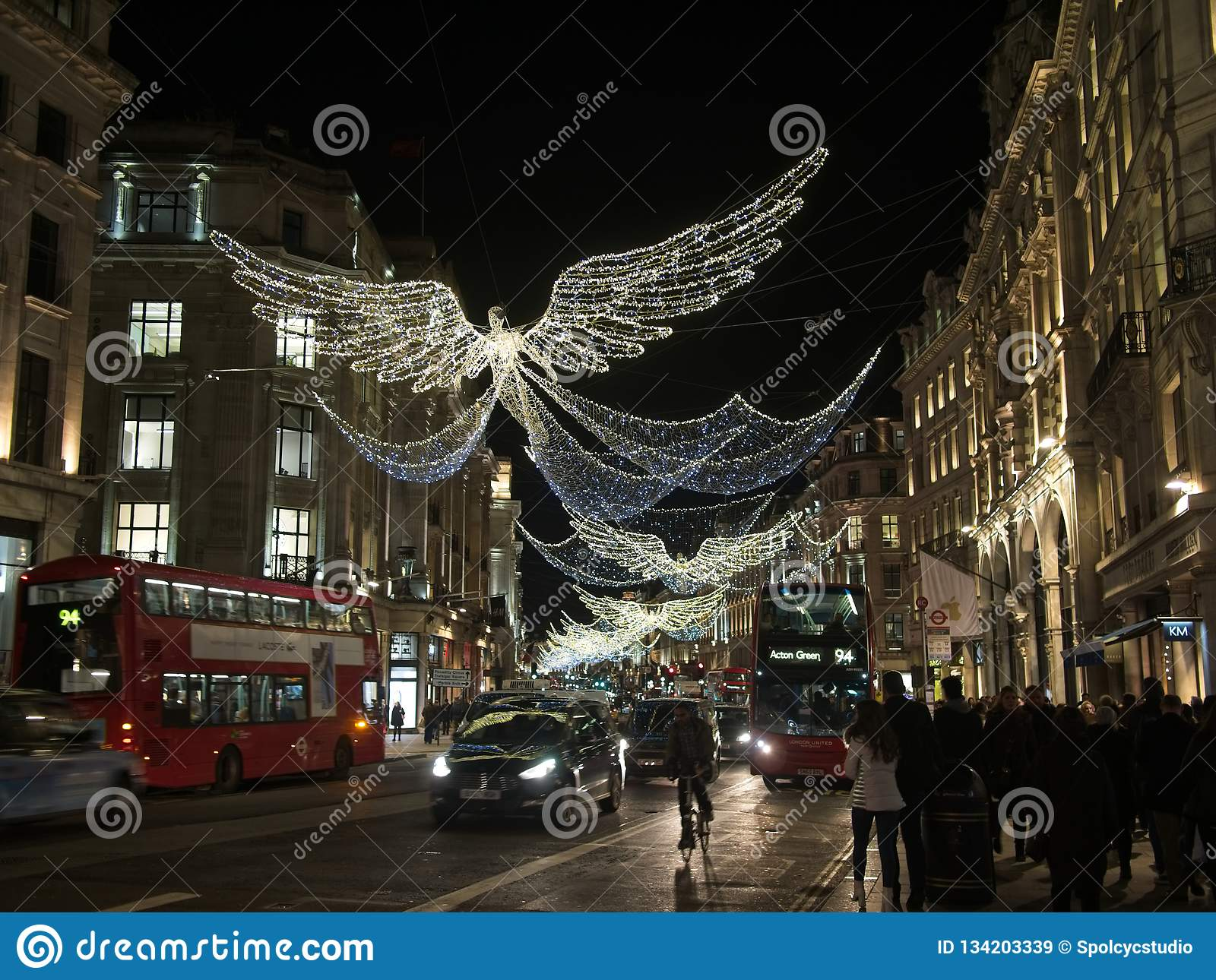 England Christmas Lights.Christmas Lights And Decoration On Regent Street In London