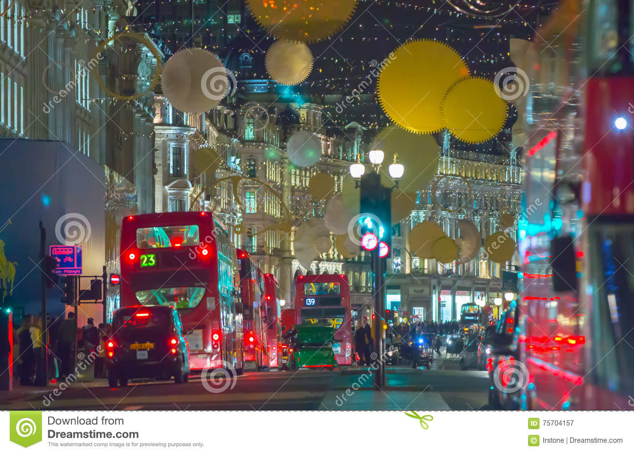 Christmas lights decoration at Regent street and lots of people. London