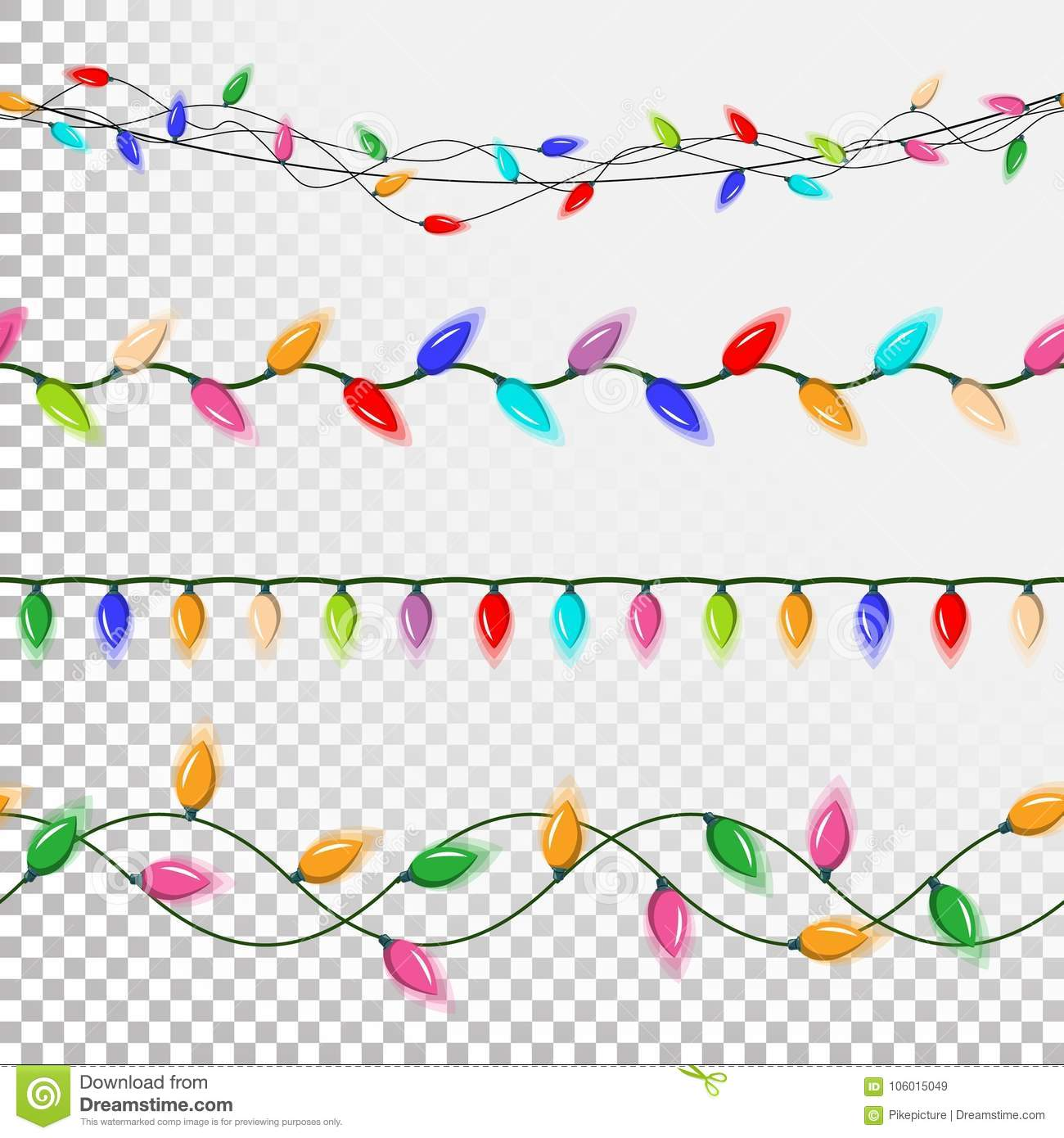 Download Christmas Lights String Vector Flat Garlands Party Decorations Festive