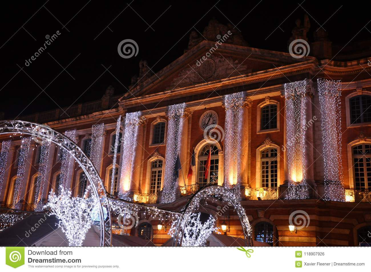 Christmas Lights on the Facade of the Capitol, in Toulouse