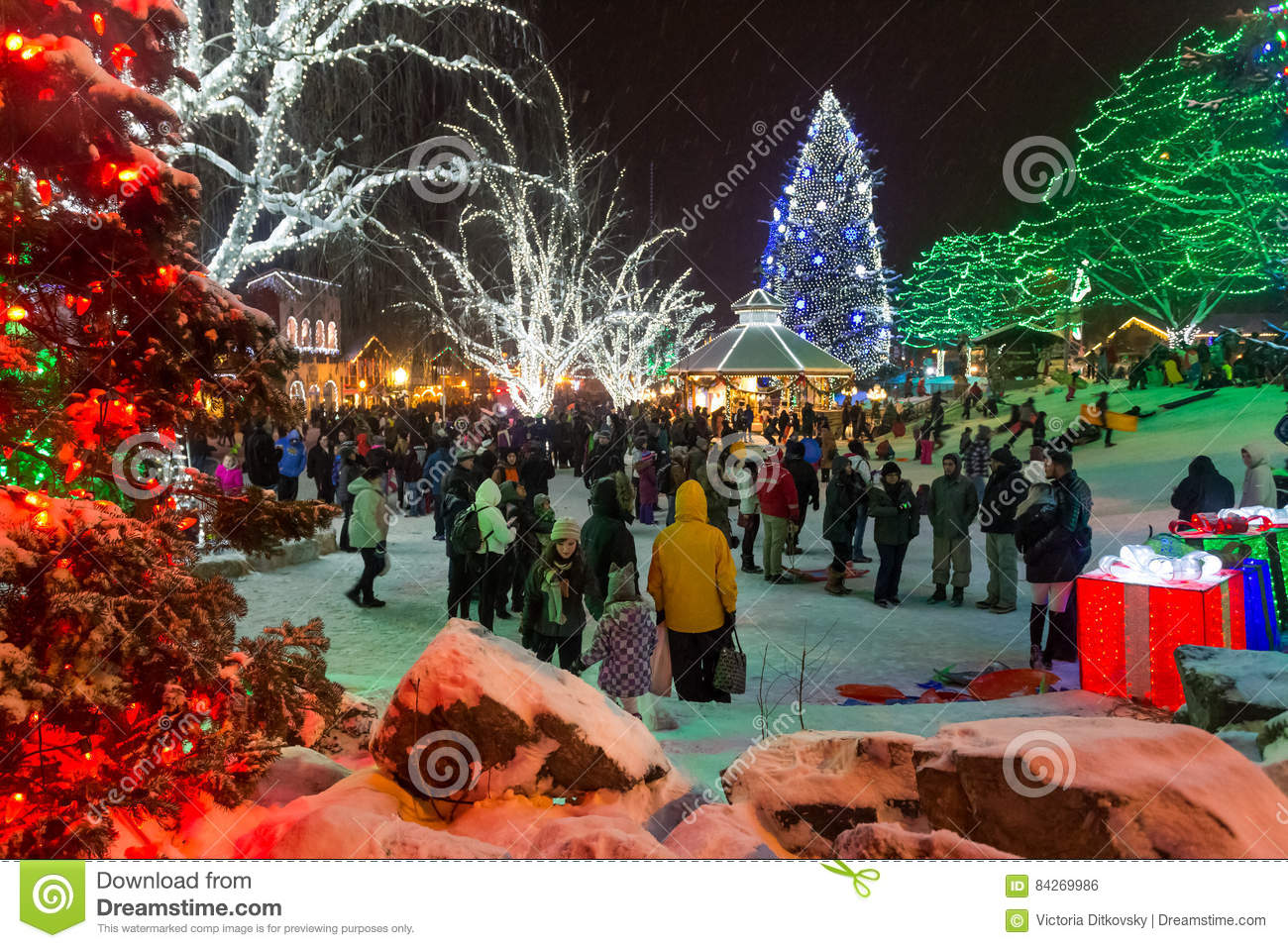 Leavenworth Christmas Lights.Christmas Lights Editorial Photo Image Of Modern Holiday