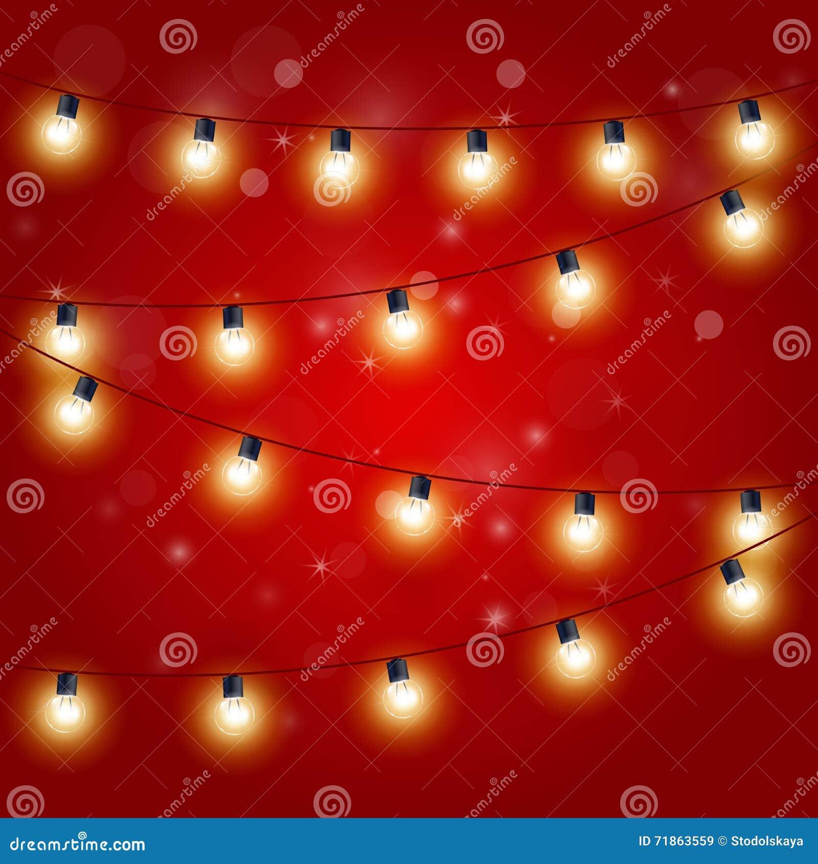 christmas lights festive carnival garland with light bulbs stock