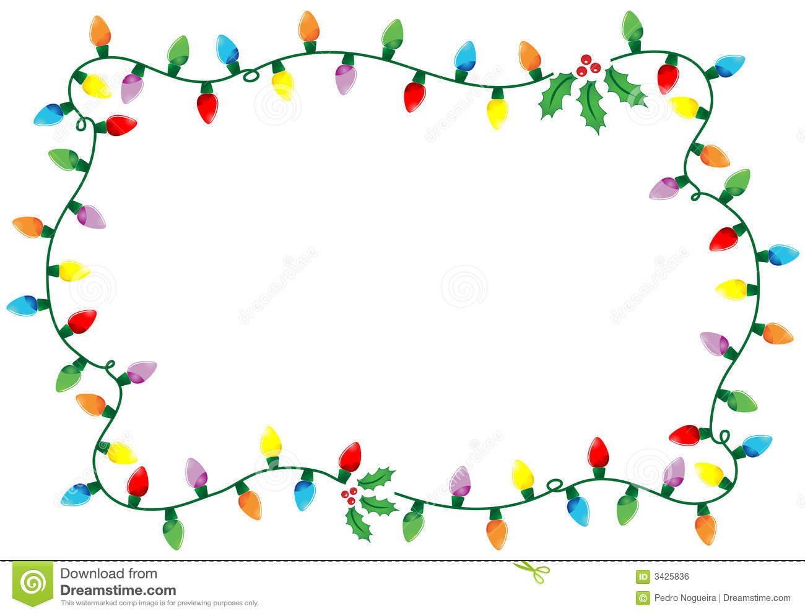 Christmas lights frame stock vector illustration of