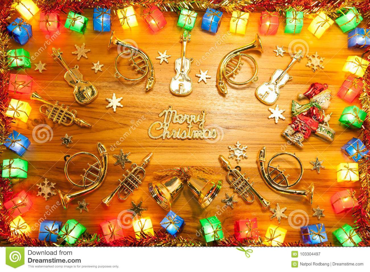 download christmas lights gift box frame and musical instrument on golden stock image image of