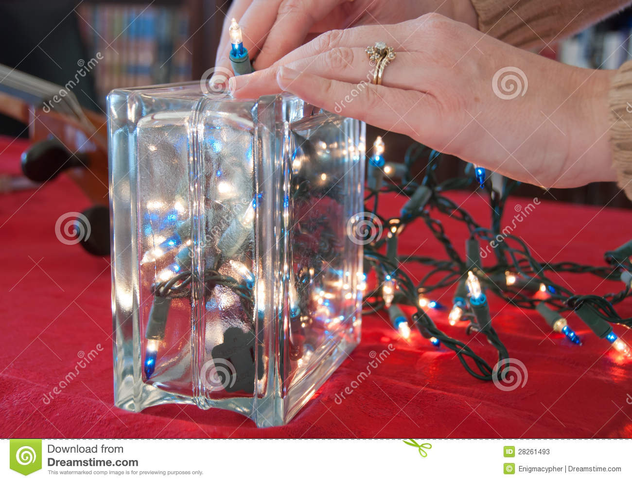 Christmas lights in a glass block stock photos image for Hollow glass blocks for crafts