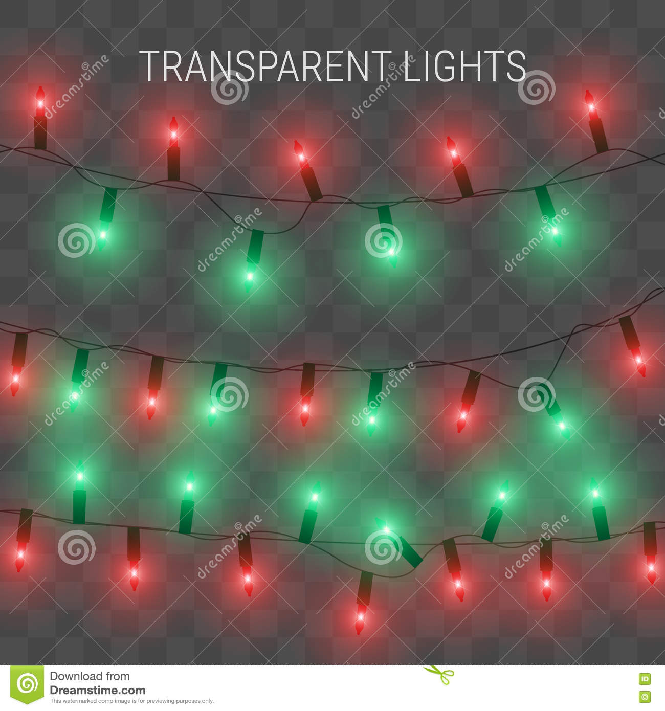 christmas lights glowing garland on transparent background