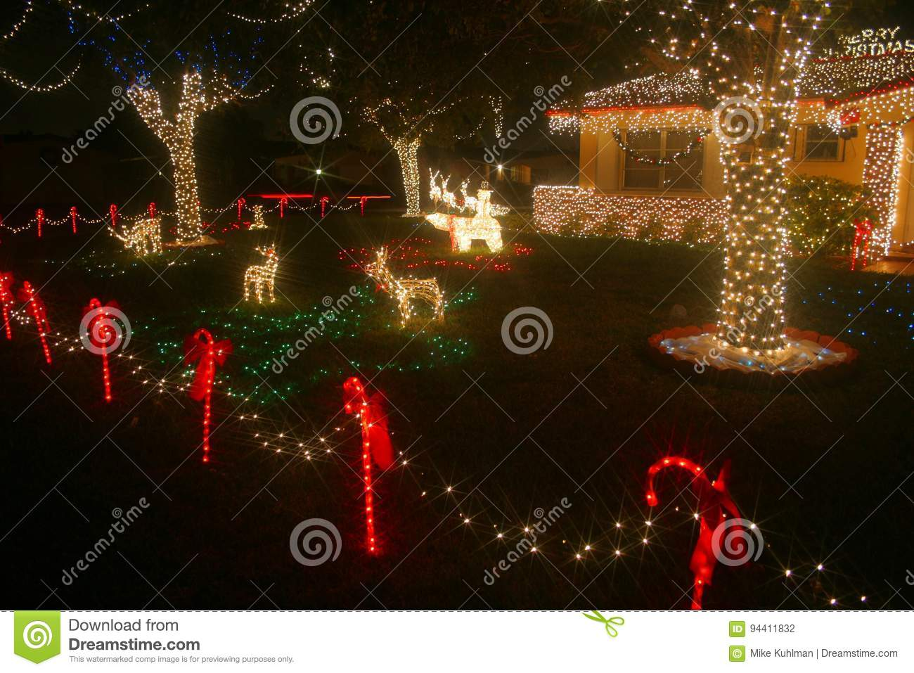 Red And White Christmas Lights.Christmas Lights Home Editorial Photography Image Of