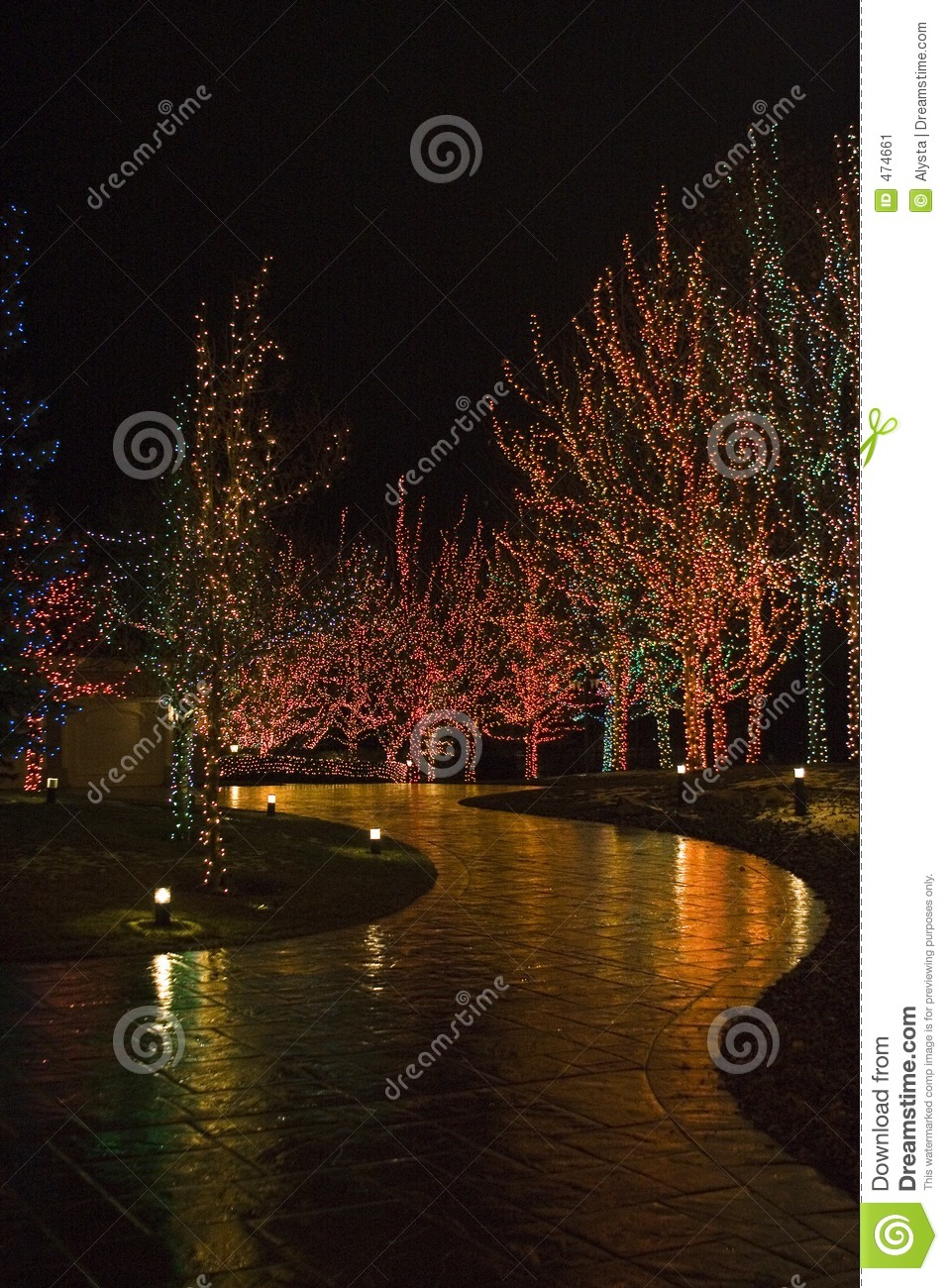 Christmas lights illuminating walkway stock image image for Sidewalk christmas lights