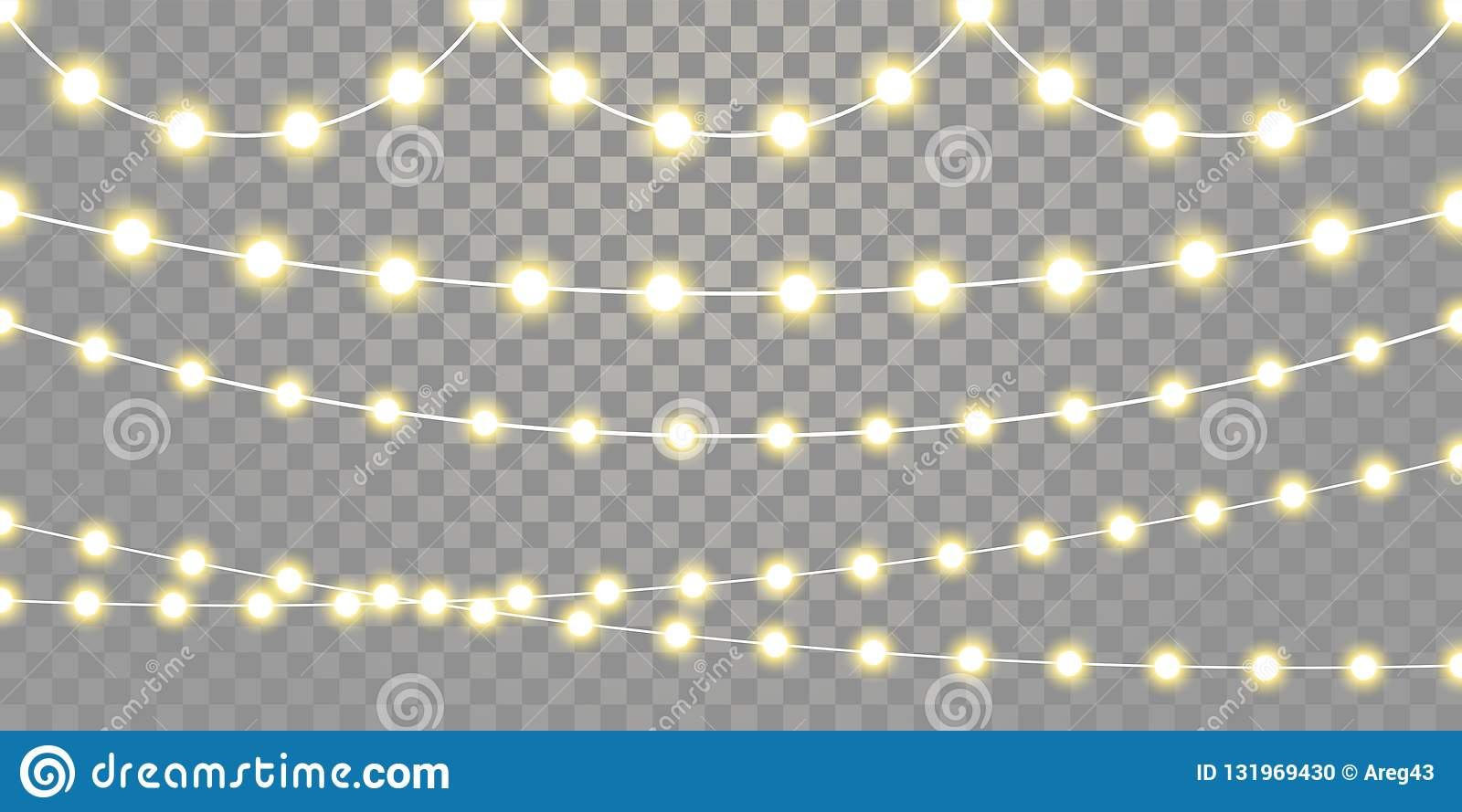 Christmas Lights Transparent Background.Christmas Lights Isolated Garland Lamp Strings On