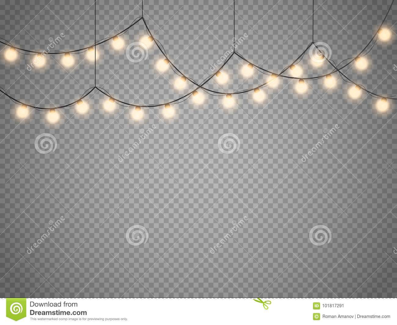 Christmas Fairy Lights Transparent.Christmas Lights Isolated On Transparent Background Vector
