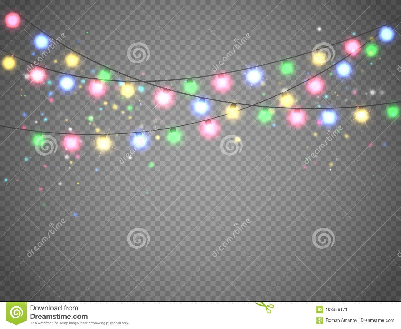 Christmas lights isolated on transparent background xmas garland