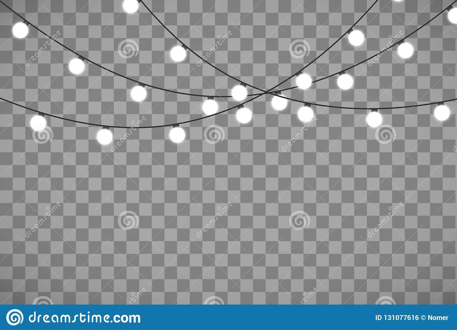 Christmas Lights Isolated On Transparent Background Xmas Glowing