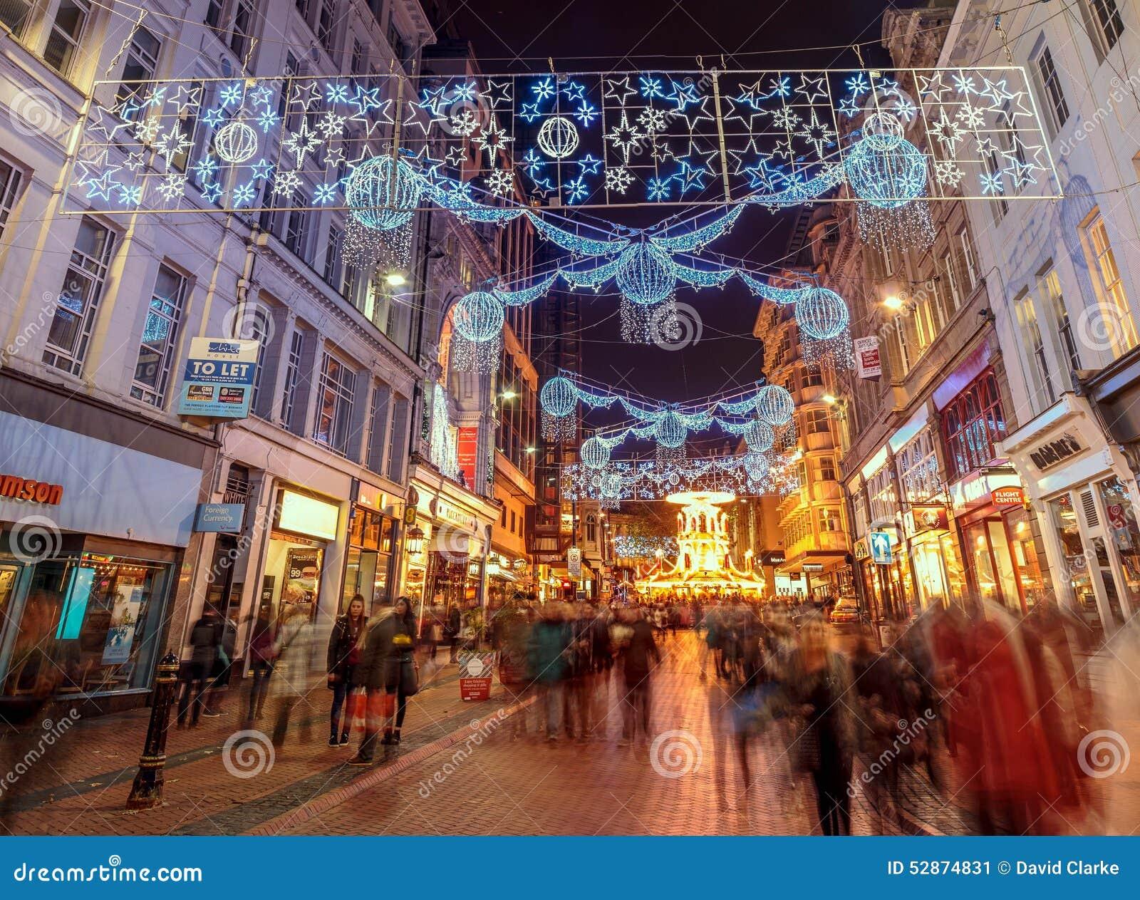 Birmingham Christmas Lights.Christmas Lights At New Street Birmingham Editorial Photo