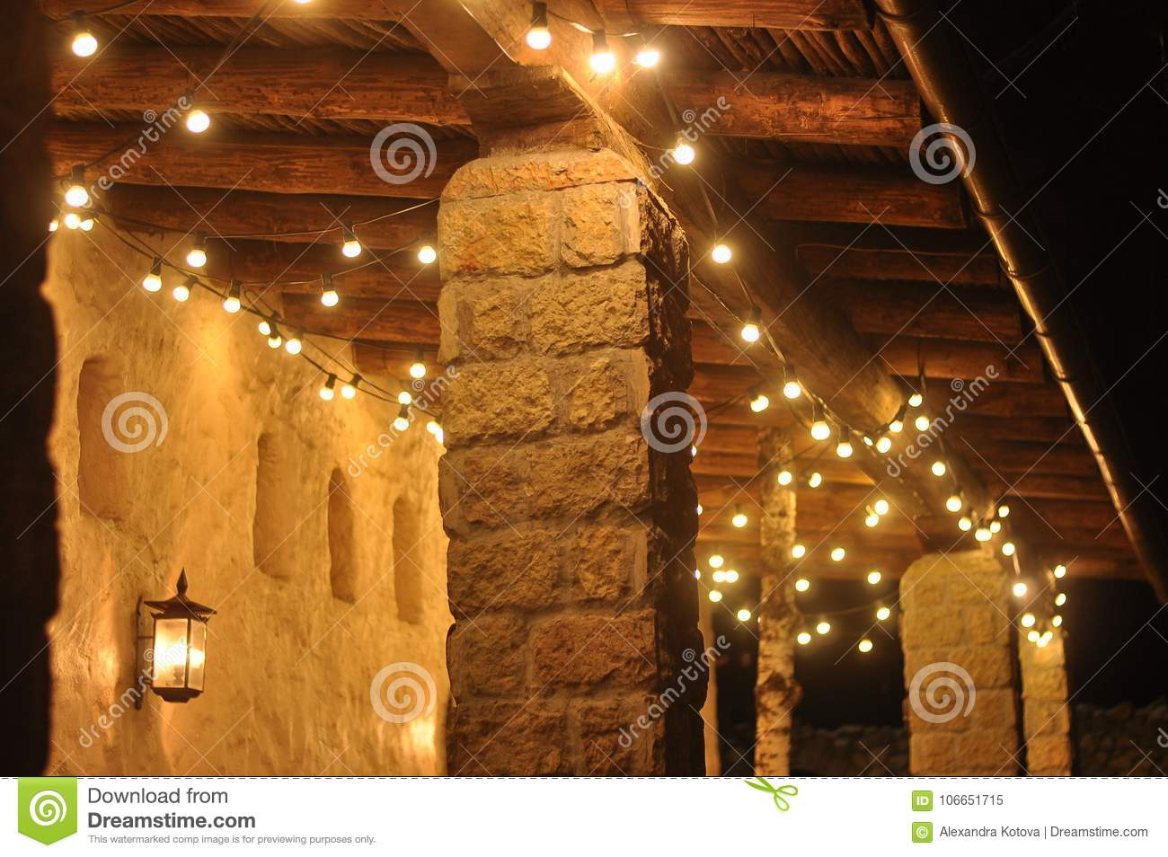 Christmas Lights And Newyear Decoration Of Cafe Stock Image Image Of Citylights Downs 106651715