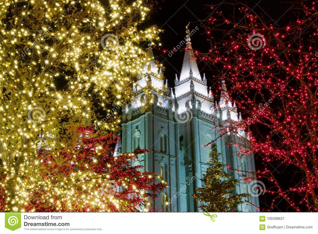 Download Christmas Lights Outside Historic Temple In Utah Stock Image    Image Of Night, Saints
