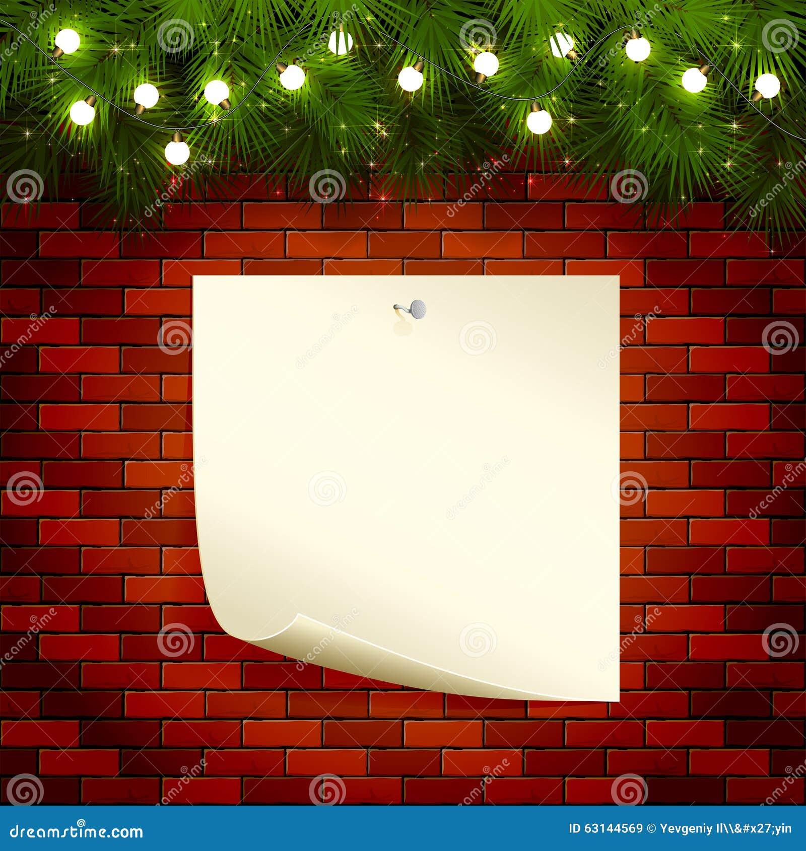 Christmas Lights And Paper On Brick Wall Stock Vector - Image: 63144569