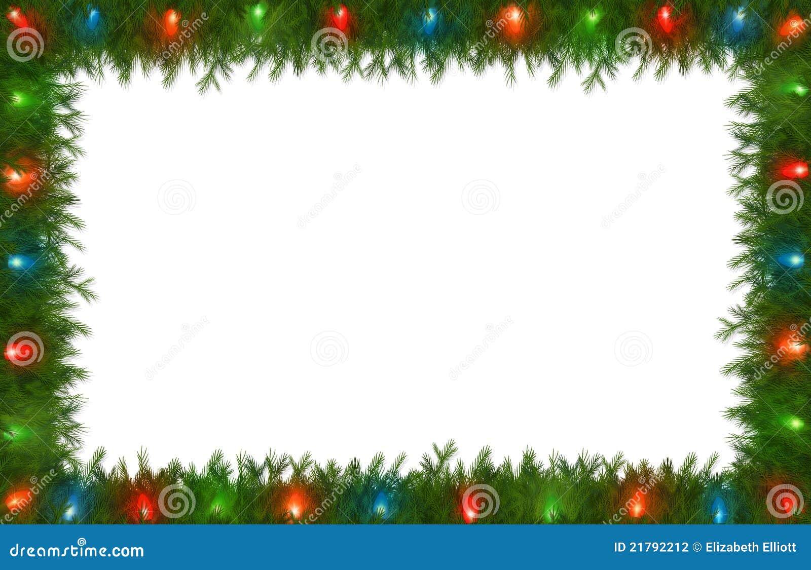 Christmas lights with pine border stock photography